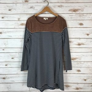 Umgee Striped Faux Suede Dress